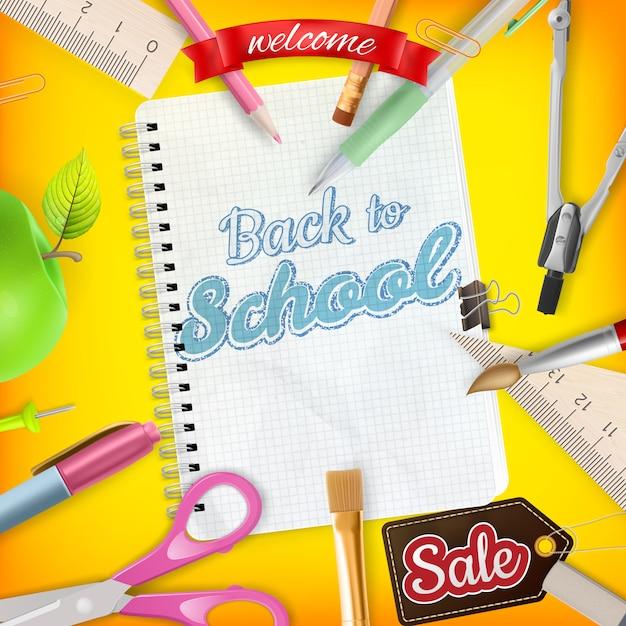 Back to school marketing background. Premium Vector