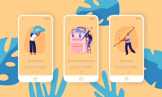 Back to school mobile app onboard screen set Premium Vector