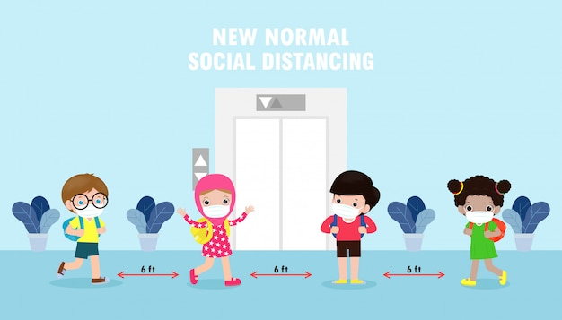 Back to school for new normal lifestyle concept. group of children keep social distance when waiting for elevator lift. Premium Vector