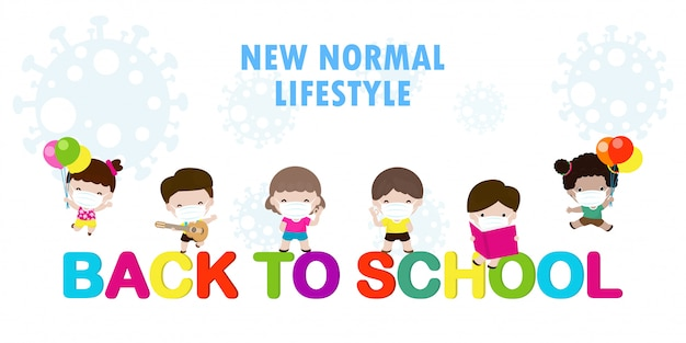 Back to school . happy group of kids wearing face mask and social distancing