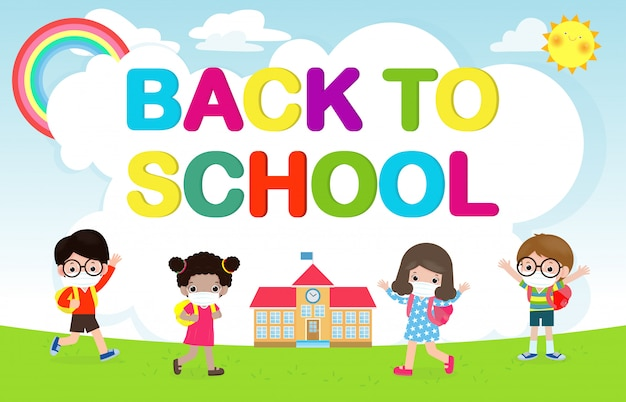 Back to school for new normal lifestyle concept. happy group of kids wearing face mask and social distancing protect coronavirus covid 19, children and friends go to school isolated Premium Vector