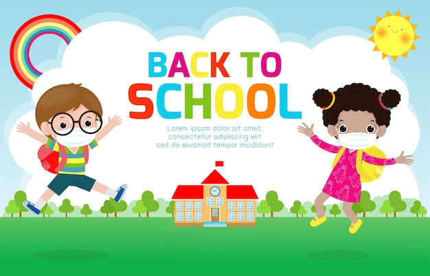 Back to school for new normal lifestyle concept. Premium Vector