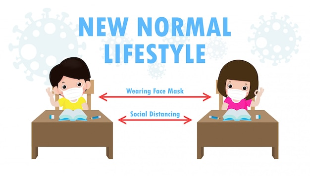 Back to school for new normal lifestyle social distancing in class room concept, prevention tips infographic of coronavirus 2019 ncov.little boy and girl wearing mask sitting on the desk in classroom Premium Vector