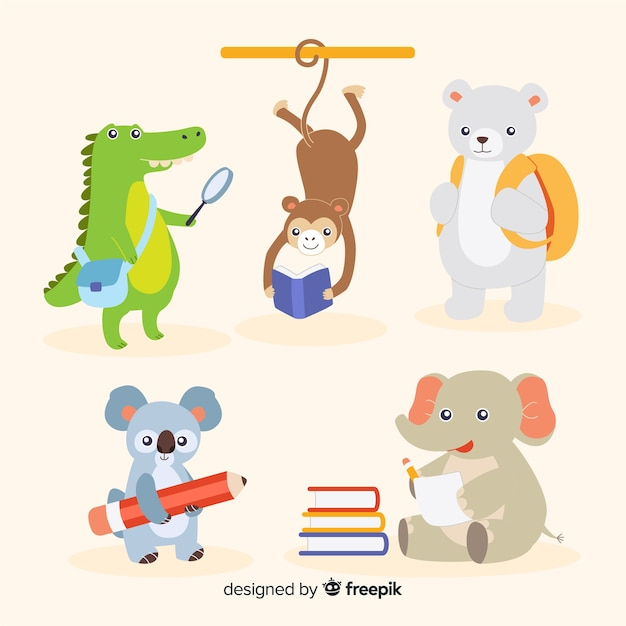 Back to school pack of animals Free Vector