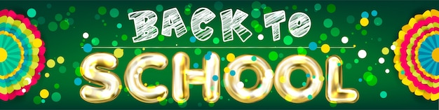 Back to school panorama banner with confetti Premium Vector