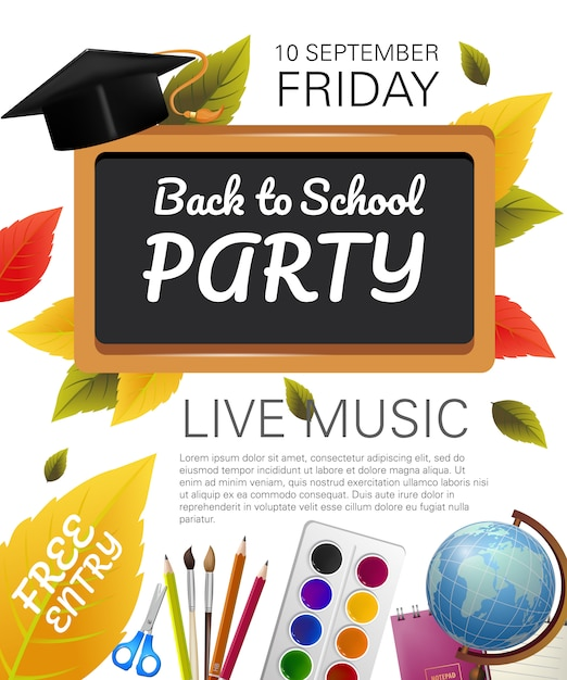 Back to school party flyer with graduation cap Free Vector