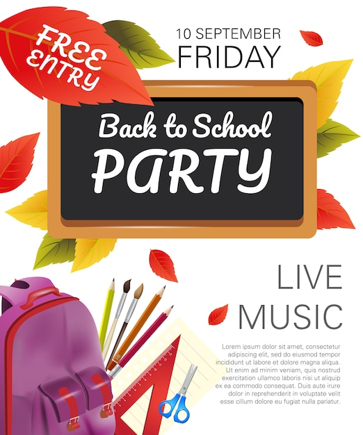 Back to school party flyer with violet backpack Free Vector