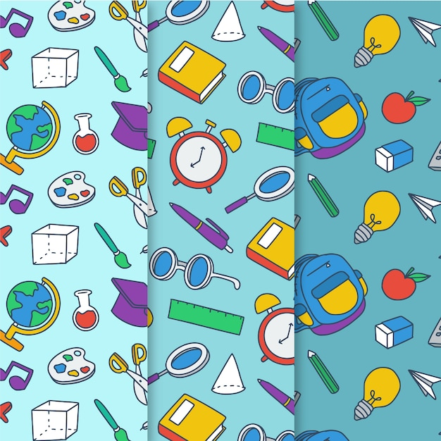 Back to school pattern collection draw Free Vector