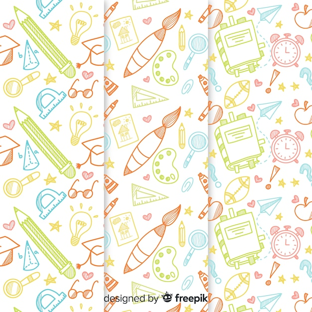 Back to school pattern collection Free Vector
