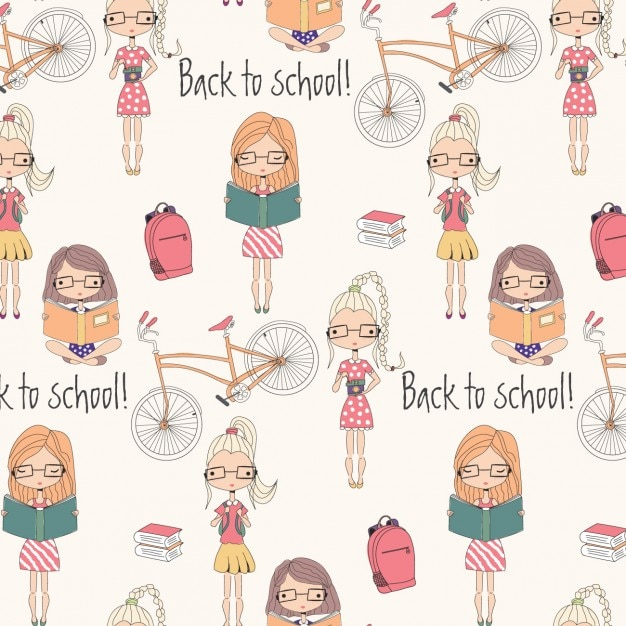 Back to school pattern design Free Vector