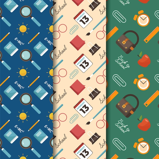 Back to school pattern Free Vector