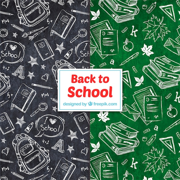 Back to school patterns collection with elements Premium Vector