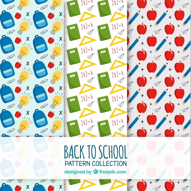 Back to school patterns collection Free Vector
