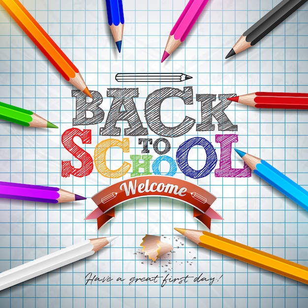 Back to school phrase with colorful pencil and typography