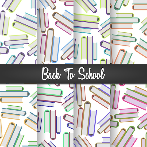 Back to school pile of books seamless pattern Premium Vector