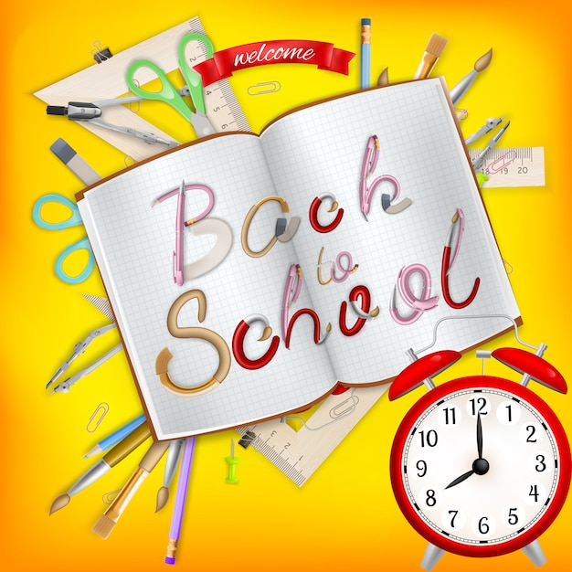 Back to school postcard. office supplies with notebook.   file included Premium Vector