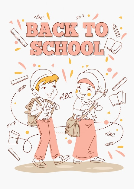 Back to school poster, kids ready to go Premium Vector