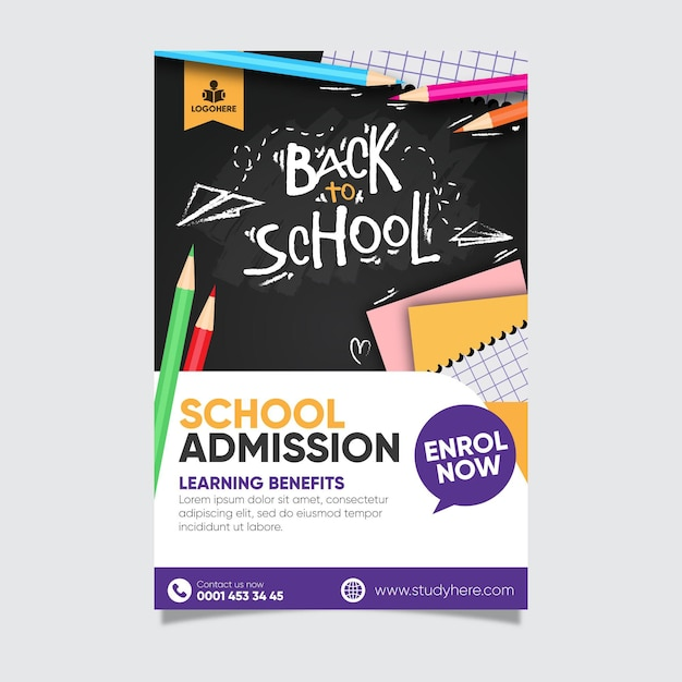 Back to school poster template design Free Vector