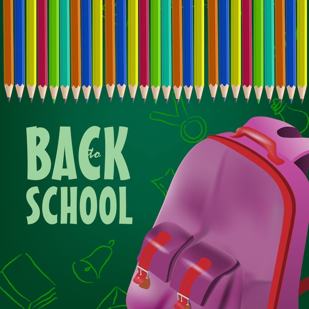Back to school poster with backpack, colored pencils Free Vector
