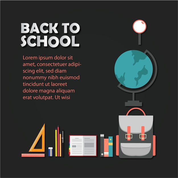 Back to school poster with icons Premium Vector