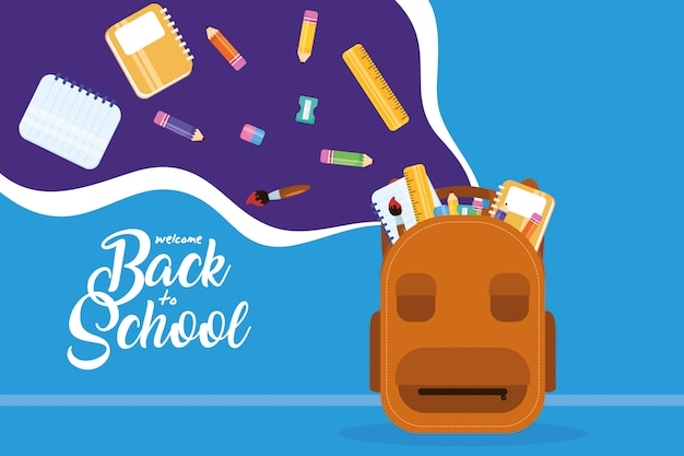 Back to school poster with schoolbag and supplies Premium Vector