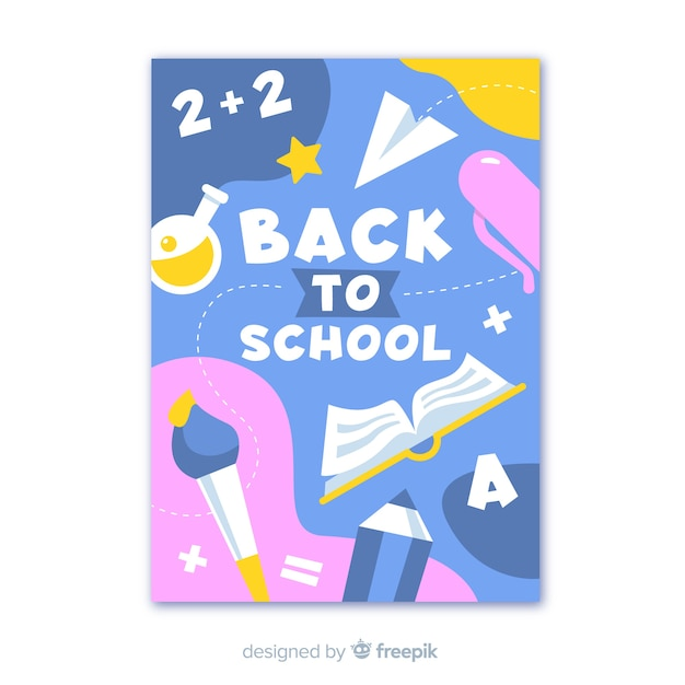 Back to school poster with themed elements Free Vector