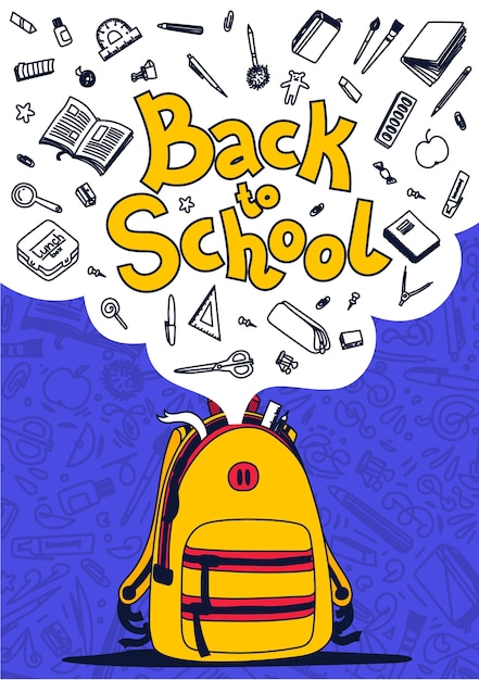 Back to school poster. yellow backpack, school supplies and back to school text on violet background.  illustration. Premium Vector