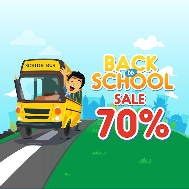 Back to school sale background Premium Vector