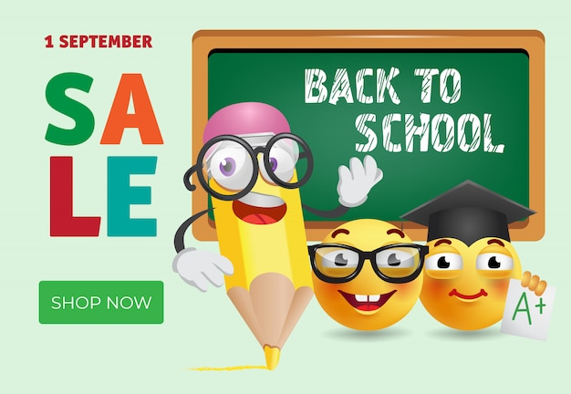 Back to school sale banner design with cartoon pencil Free Vector