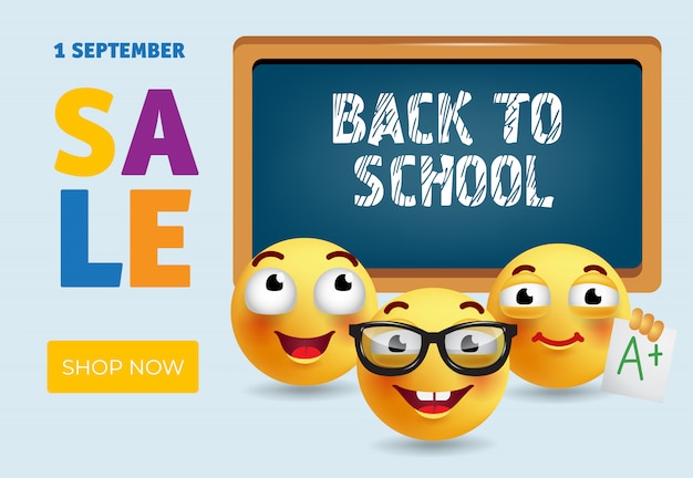 Back to school sale banner design with smart cartoon emotions Free Vector