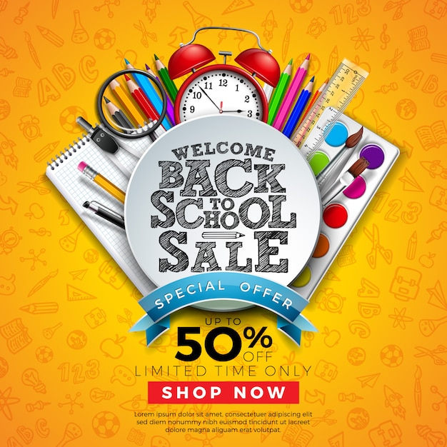 Back to school sale banner with colorful pencil and other learning items on hand drawn doodles Free Vector