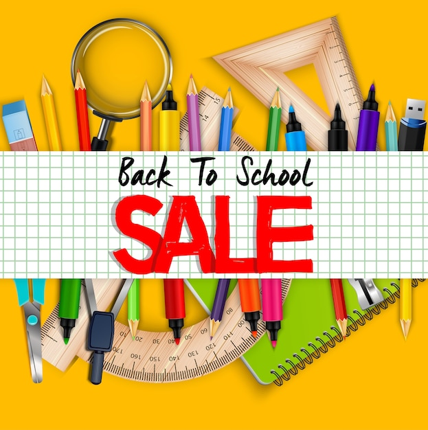 Back to school sale banner with realistic stationary Premium Vector