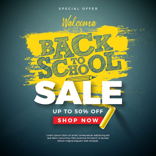 Back to school sale banner with typography letter and chalk on chalkboard Free Vector