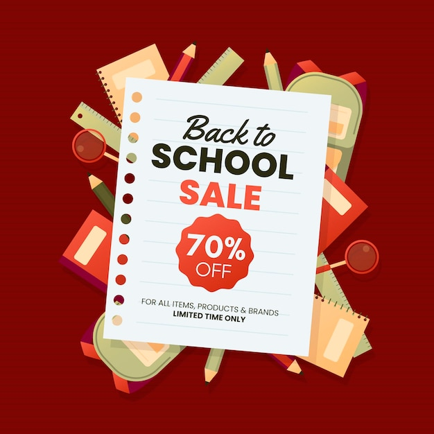 Back to school sale banner Free Vector