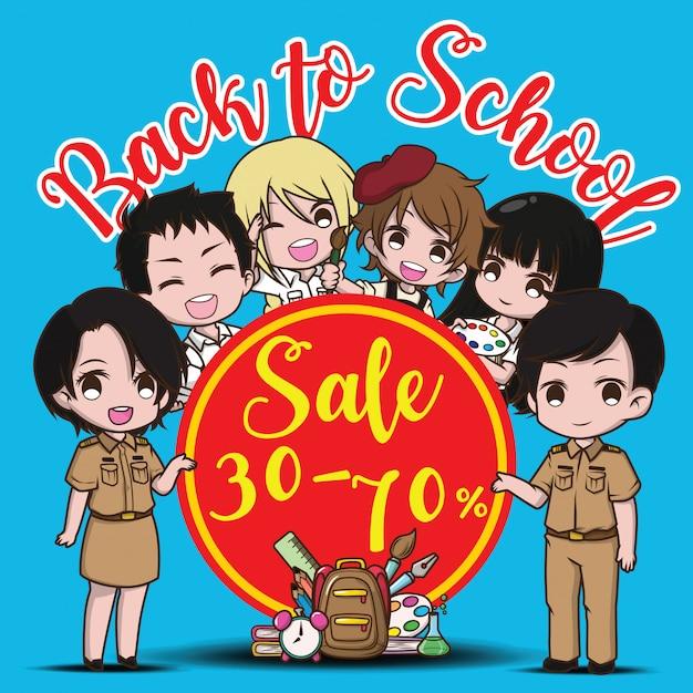 Back to school sale banner Premium Vector