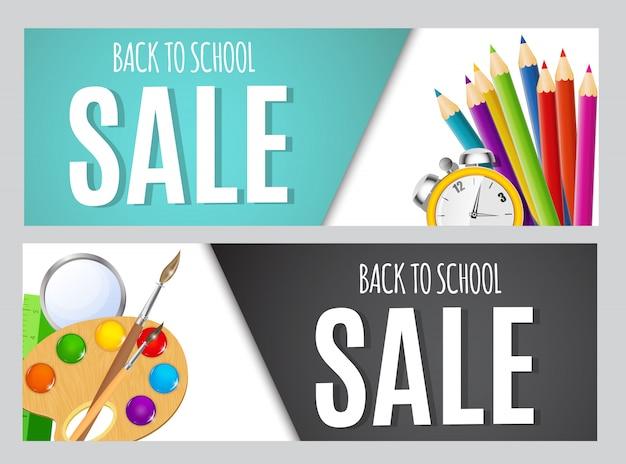 Back to school sale banners Premium Vector