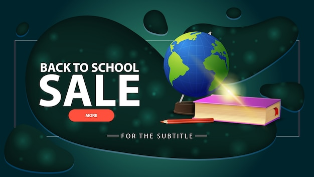 Back to school sale, blue discount banner with globe and school textbooks Premium Vector