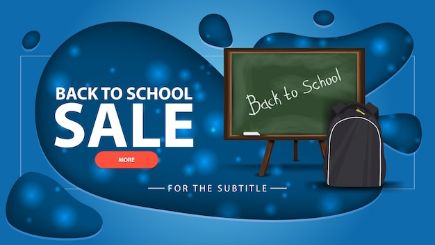 Back to school sale, blue discount banner with school board and school backpack Premium Vector