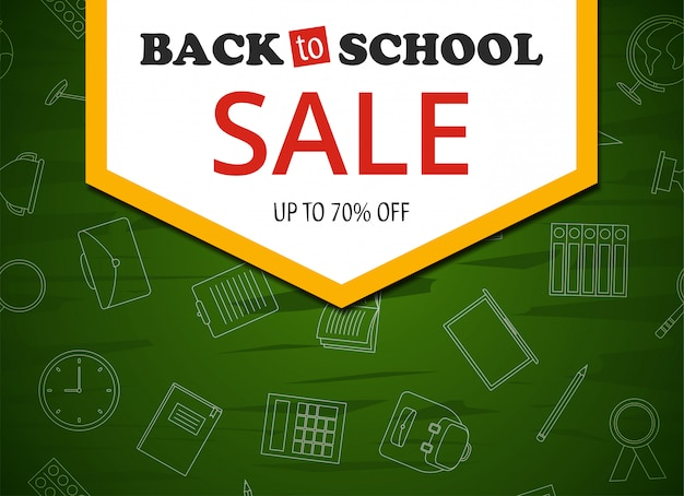 Back to school sale colorful banner on green background Premium Vector