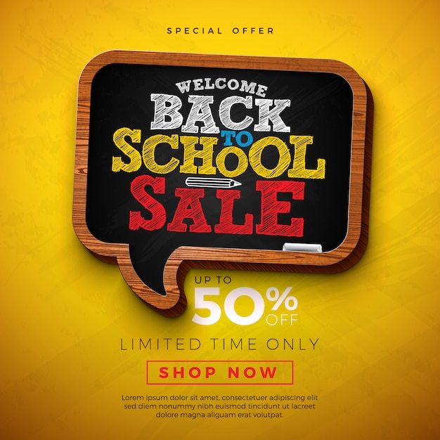 Back to school sale design with chalkboard and typography letter on yellow background Premium Vector