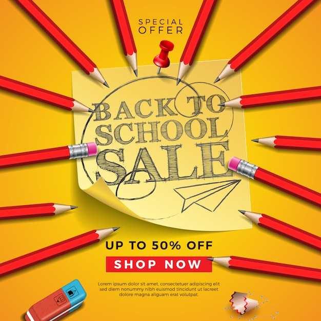 Back to school sale design with graphite pencil, eraser and sticky notes on yellow background. Premium Vector