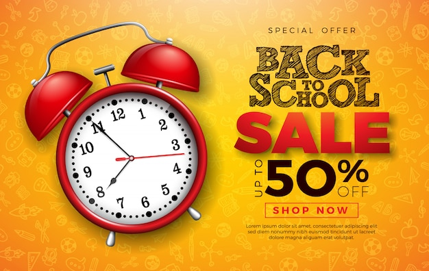 Back to school sale design with red alarm clock and typography letter on hand drawn doodles background. Premium Vector
