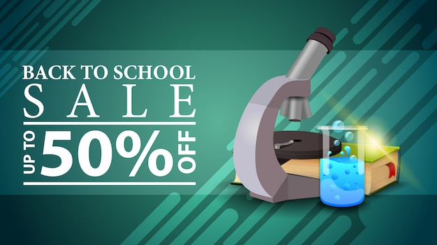 Back to school sale, discount web banner in a modern style with microscope, books and chemical flask Premium Vector