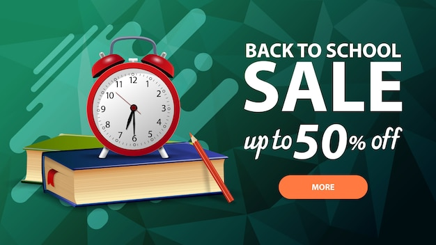 Back to school sale, discount web banner for your site in a modern style with button Premium Vector