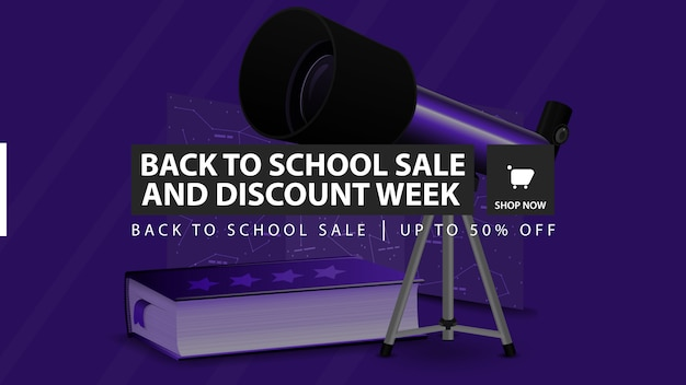 Back to school sale and discount week, blue horizontal discount banner Premium Vector