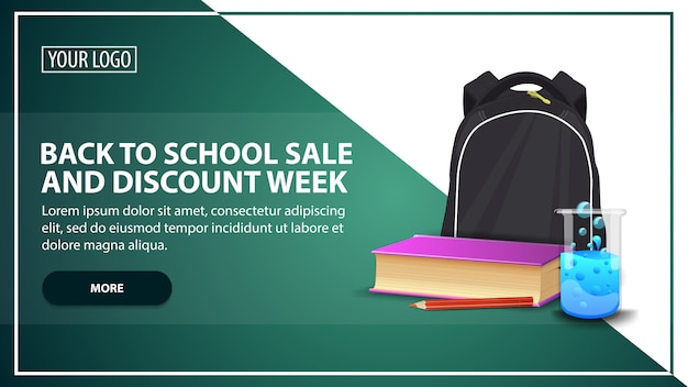 Back to school sale and discount week, discount web banner template for your website Premium Vector