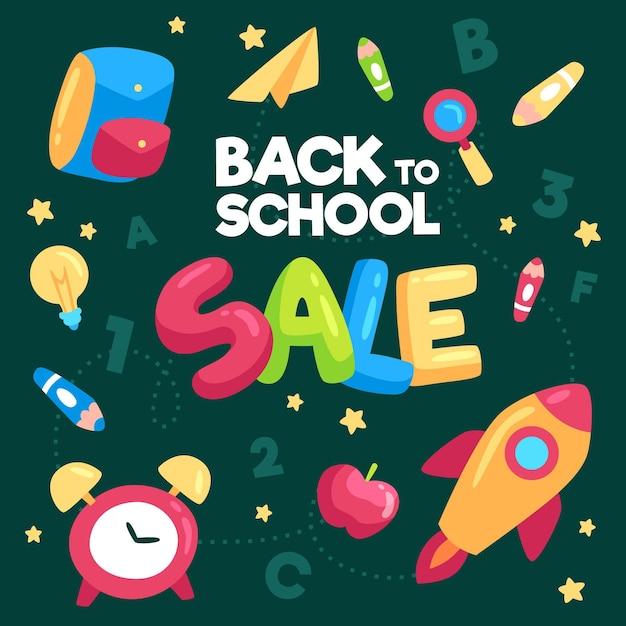 Back to school sale flat design banner Free Vector