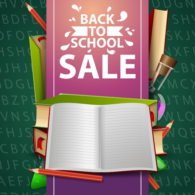 Back to school sale, green web banner with school textbooks and notebook Premium Vector
