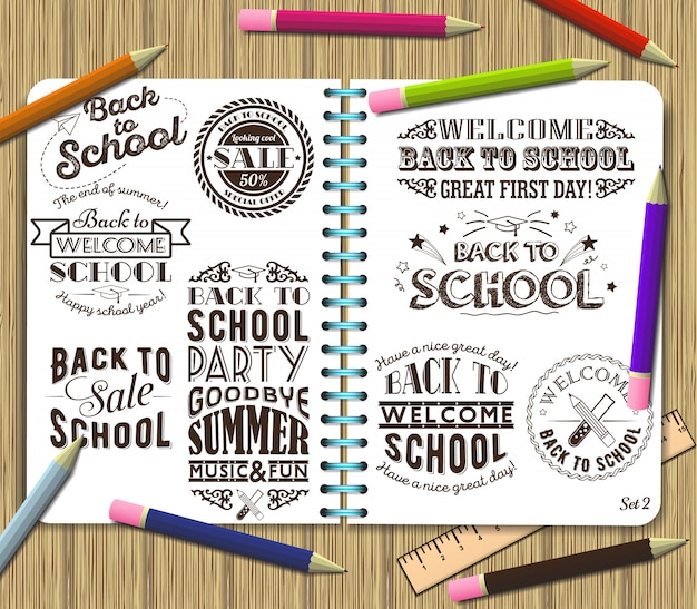 Back to school and sale lettering design element on exercise book background with color pencils Premium Vector
