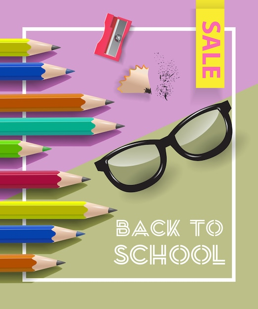 Back to school, sale lettering in frame with sharpener Free Vector